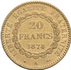 Photo numismatique  MONNAIES MODERNES FRANÇAISES 3ème REPUBLIQUE (4 septembre 1870-10 juillet 1940)  20 francs or, Paris 1874.