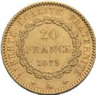 Photo numismatique  MONNAIES MODERNES FRANÇAISES 3ème REPUBLIQUE (4 septembre 1870-10 juillet 1940)  20 francs or, Paris 1875.