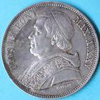 Photo numismatique  MONNAIES MONNAIES DU MONDE ITALIE SAINT-SIEGE, Pie IX (1846-1878) 5 lire de 1870 (an XXV), frappée à Rome.