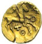 Photo numismatique  MONNAIES IBERIE- GAULE - CELTES AMBIANI (Bassin de la Somme)  Quart de statère au petit serpent cornu (vers 60-30/25).