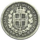 Photo numismatique  MONNAIES MONNAIES DU MONDE ITALIE SAVOIE-SARDAIGNE, Charles Albert (1831-1849) 50 centesimi de 1842.