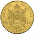 Photo numismatique  MONNAIES MODERNES FRANÇAISES NAPOLEON III, empereur (2 décembre 1852-1er septembre 1870)  100 francs or, Paris 1856.