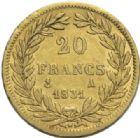 Photo numismatique  MONNAIES MODERNES FRANÇAISES LOUIS-PHILIPPE Ier (9 août 1830-24 février 1848)  20 francs or, Paris 1831.