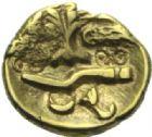 Photo numismatique  MONNAIES IBERIE- GAULE - CELTES AMBIANI (Bassin de la Somme)  Quart de statère d'or.