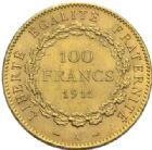 Photo numismatique  MONNAIES MODERNES FRANÇAISES 3ème REPUBLIQUE (4 septembre 1870-10 juillet 1940)  100 francs or, Paris 1911.