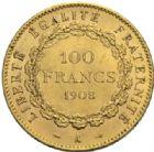 Photo numismatique  MONNAIES MODERNES FRANÇAISES 3ème REPUBLIQUE (4 septembre 1870-10 juillet 1940)  100 francs or, Paris 1908.