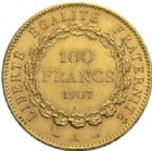 Photo numismatique  MONNAIES MODERNES FRANÇAISES 3e REPUBLIQUE (4 septembre 1870-10 juillet1940)  100 francs or, 1907.