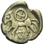Photo numismatique  ARCHIVES VENTE 2015 -19 juin GAULE - CELTES BITURIGES-LEMOVICES-EDUENS. (Région de Bourges-Limoges-Bourgogne)  Quart de statère d'or.
