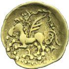 Photo numismatique  ARCHIVES VENTE 2015 -19 juin GAULE - CELTES SENONES-CARNUTES (Seine et vallée de la Loire moyenne)  Quart de statère d'or au griffon ailé.