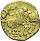 Photo numismatique  ARCHIVES VENTE 2015 -19 juin GAULE - CELTES CARNUTES (région de Chartres)  Quart de statère uniface au décor bouleté.