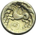 Photo numismatique  ARCHIVES VENTE 2015 -19 juin GAULE - CELTES CALETI (Pays de Caux)  Hémistatère à la roue.