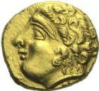 Photo numismatique  ARCHIVES VENTE 2015 -19 juin GAULE - CELTES NORMANDIE. Monnaies prototypes à la cavalière.   Quart de statère (3e-2e siècles).