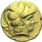 Photo numismatique  ARCHIVES VENTE 2015 -19 juin GAULE - CELTES NORMANDIE. Monnaies prototypes à la cavalière.  Quart de statère à la tête casquée (3e-2e siècles).