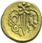Photo numismatique  ARCHIVES VENTE 2015 -19 juin GAULE - CELTES NORMANDIE.   Quart de statère au glaive vertical.