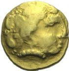 Photo numismatique  ARCHIVES VENTE 2015 -19 juin GAULE - CELTES NORMANDIE.   Quart de statère, loup conducteur.