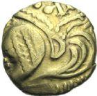 Photo numismatique  ARCHIVES VENTE 2015 -19 juin GAULE - CELTES AULERQUES EBUROVICES (région d'Evreux)  Quart de statère à la joue tatouée.