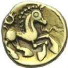 Photo numismatique  ARCHIVES VENTE 2015 -19 juin GAULE - CELTES BELLOVACI-AMBIANI (su-ouest Somme et vallée de l'Oise)  Quart de statère d'or à l'astre.