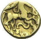 Photo numismatique  ARCHIVES VENTE 2015 -19 juin GAULE - CELTES BELLOVACI-AMBIANI (su-ouest Somme et vallée de l'Oise)  Quart de statère d'or imitant le monnayage des Suessiones.