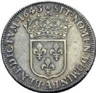 Photo numismatique  ARCHIVES VENTE 2015 -19 juin ROYALES FRANCAISES LOUIS XIII (16 mai 1610-14 mai 1643)  Demi-écu d'argent de 30 sols, 2ème poinçon de Warin, Paris 1643.