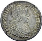 Photo numismatique  ARCHIVES VENTE 2015 -19 juin ROYALES FRANCAISES LOUIS XIV (14 mai 1643-1er septembre 1715)  Quart d'écu à la mèche courte, Paris 1645.