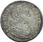 Photo numismatique  ARCHIVES VENTE 2015 -19 juin ROYALES FRANCAISES LOUIS XIV (14 mai 1643-1er septembre 1715)  Quart d'écu à la mèche courte, Paris 1645.