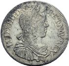 Photo numismatique  ARCHIVES VENTE 2015 -19 juin ROYALES FRANCAISES LOUIS XIV (14 mai 1643-1er septembre 1715)  Demi-écu à la mèche longue, Paris 1651.