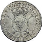 Photo numismatique  ARCHIVES VENTE 2015 -19 juin ROYALES FRANCAISES LOUIS XIV (14 mai 1643-1er septembre 1715)  Ecus aux insignes, Paris 1702 (2), Rennes.