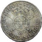 Photo numismatique  ARCHIVES VENTE 2015 -19 juin ROYALES FRANCAISES LOUIS XIV (14 mai 1643-1er septembre 1715)  Demi-écu aux insignes, Lille 1702.