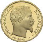 Photo numismatique  ARCHIVES VENTE 2015 -19 juin MODERNES FRANÇAISES 5e REPUBLIQUE (Depuis le 4 octobre 1958)  Coffret de 3 monnaies d'or, 50 francs, 20 francs et 10 francs 1852/1992.