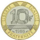 Photo numismatique  ARCHIVES VENTE 2015 -19 juin MODERNES FRANÇAISES 5ème RÉPUBLIQUE (Depuis le 4 octobre 1958)  10 francs or (blanc et jaune), 1988.