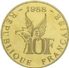 Photo numismatique  ARCHIVES VENTE 2015 -19 juin MODERNES FRANÇAISES 5e REPUBLIQUE (Depuis le 4 octobre 1958)  10 francs or, 1988.