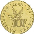 Photo numismatique  ARCHIVES VENTE 2015 -19 juin MODERNES FRANÇAISES 5ème RÉPUBLIQUE (Depuis le 4 octobre 1958)  10 francs or, 1988.