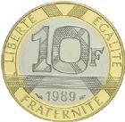Photo numismatique  ARCHIVES VENTE 2015 -19 juin MODERNES FRANÇAISES 5e REPUBLIQUE (Depuis le 4 octobre 1958)  10 francs or (blanc et jaune), 1989.
