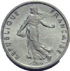 Photo numismatique  ARCHIVES VENTE 2015 -19 juin MODERNES FRANÇAISES 5ème RÉPUBLIQUE (Depuis le 4 octobre 1958)  Piéfort de 1/2 franc 1974.