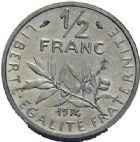 Photo numismatique  ARCHIVES VENTE 2015 -19 juin MODERNES FRANÇAISES 5e REPUBLIQUE (Depuis le 4 octobre 1958)  Piéfort de 1/2 franc 1974.