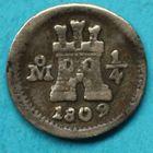 Photo numismatique  MONNAIES MONNAIES DU MONDE MEXIQUE FERDINAND VII, roi d'Espagne (1808-1821) Quart de réal de 180908/11/2008