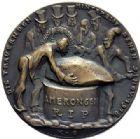 Photo numismatique  ARCHIVES VENTE 2015 -19 juin MÉDAILLES MEDAILLES SATIRIQUES ALLEMANDES Médailles de Karl Goetz Le deuil. Die trauernden Hinterbliebenen.