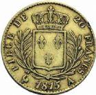 Photo numismatique  ARCHIVES VENTE 2015 -19 juin DERNIÈRE MINUTE FRANCE. Louis XVIII (1814-1824)  20 francs or, Paris 1815.