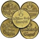 Photo numismatique  ARCHIVES VENTE 2015 -19 juin DERNIÈRE MINUTE SUISSE. Médailles des églises  Lot de 5 médailles d'or.