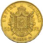Photo numismatique  MONNAIES MODERNES FRANÇAISES NAPOLEON III, empereur (2 décembre 1852-1er septembre 1870)  50 francs or, Strasbourg 1859.