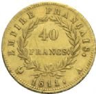 Photo numismatique  MONNAIES MODERNES FRANÇAISES NAPOLEON Ier, empereur (18 mai 1804- 6 avril 1814)  40 francs, Paris 1811.