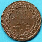 Photo numismatique  MONNAIES MONNAIES DU MONDE MONACO HONORE V (1819-1841) 5 centimes de 1837.