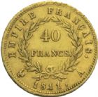 Photo numismatique  MONNAIES MODERNES FRANÇAISES NAPOLEON Ier, empereur (18 mai 1804- 6 avril 1814)  40 francs or, Paris, 1811.