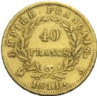 Photo numismatique  MONNAIES MODERNES FRANÇAISES NAPOLEON Ier, empereur (18 mai 1804- 6 avril 1814)  40 francs or, Paris 1811.