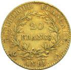 Photo numismatique  MONNAIES MODERNES FRANÇAISES BONAPARTE, 1er consul (24 décembre 1799-18 mai 1804)  20 francs or, Paris an 12.