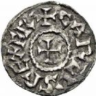 Photo numismatique  ARCHIVES VENTE 2015 -26-28 oct -Coll Jean Teitgen ROYALES FRANCAISES CHARLEMAGNE, roi (768-800) empereur (800-814)  1- Denier du second type, 793/794-800, Agen (Lot-et-Garonne).