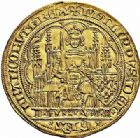 Photo numismatique  ARCHIVES VENTE 2015 -26-28 oct -Coll Jean Teitgen ROYALES FRANCAISES PHILIPPE VI DE VALOIS(1er avril 1328-22 août 1350)  40- Écu d'or à la chaise de la 1ère émission (1er janvier 1337).
