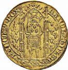 Photo numismatique  ARCHIVES VENTE 2015 -26-28 oct -Coll Jean Teitgen ROYALES FRANCAISES CHARLES V (8 avril 1364-16 septembre 1380)  70- Franc d'or à pied (20 avril 1365).