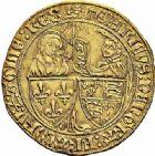 Photo numismatique  ARCHIVES VENTE 2015 -26-28 oct -Coll Jean Teitgen ROYALES FRANCAISES HENRI VI, roi de France et d'Angleterre (31 octobre 1422–19 octobre 1453)  87- Salut d'or de la 2ème émission (6 septembre 1423), Rouen.