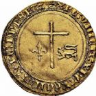 Photo numismatique  ARCHIVES VENTE 2015 -26-28 oct -Coll Jean Teitgen ROYALES FRANCAISES HENRI VI, roi de France et d'Angleterre (31 octobre 1422–19 octobre 1453)  88- Angelot d'or (24 mai 1427), Paris.